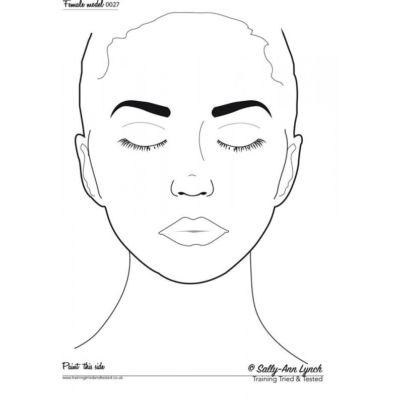 Plastifiziert Uebungsblatt A4 - Frau mit geschlossen Augen