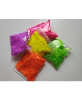 Paillettes UV Jaune-Vert-Violet--Rose-Orange- 5 x 10gr