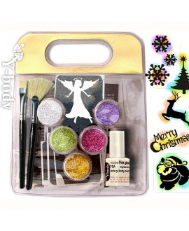 Glitter Ephemeral Tattoo Kit - Weihnachten Fun Set