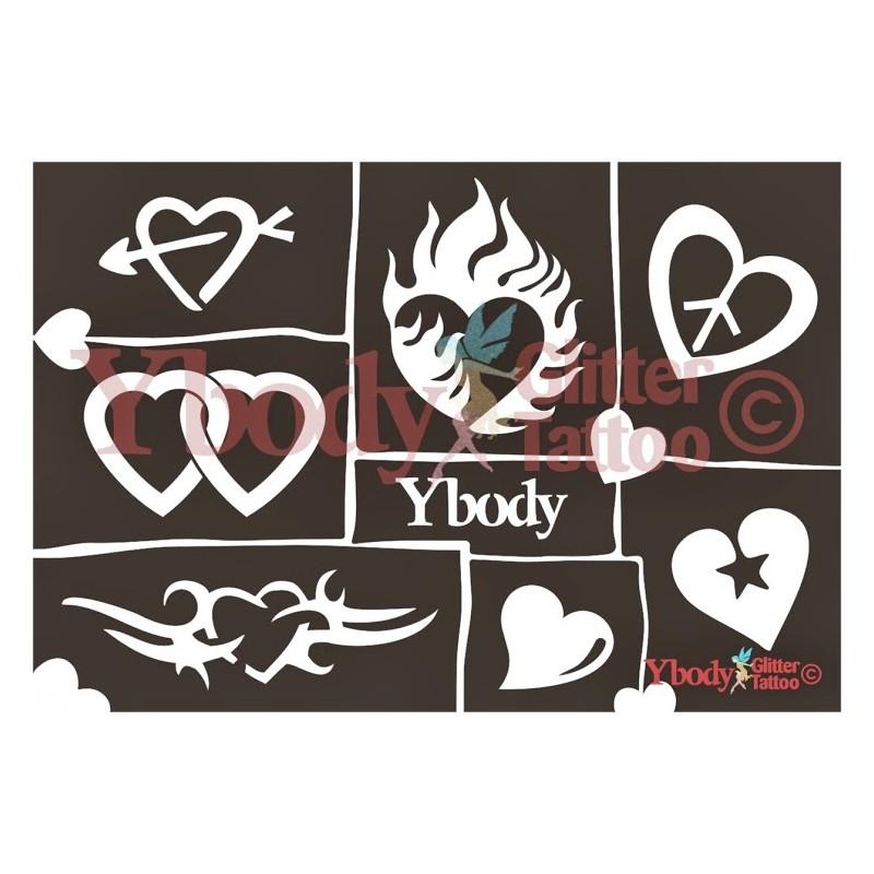 Mehrere Schablonen für ephemere Tattoos -Herzen